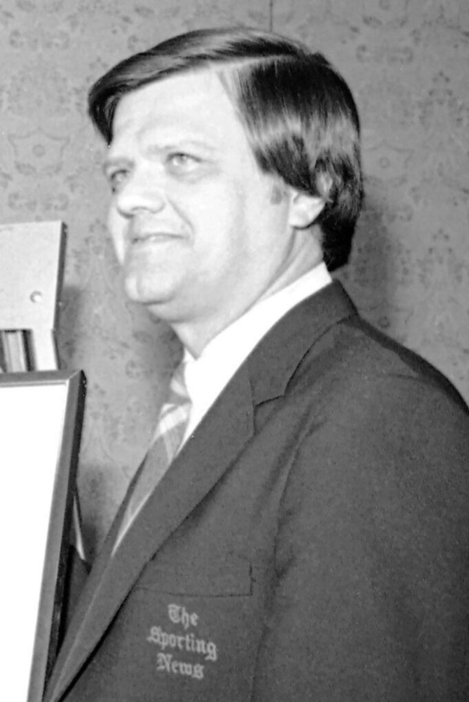 FILE - Dick Kaegel, editor of the Sporting News, is shown during a press conference in St. Louis, in this Jan. 25, 1982, file photo. Kaegel, who covered the St. Louis Cardinals and Kansas City Royals and edited The Sporting News during a career of more than 53 years, has won the Hall of Fame's J.G. Taylor Spink Award for meritorious contributions to baseball writing. He will be honored during induction weekend from July 23-26 in Cooperstown, New York. (AP Photo/Fred Waters)