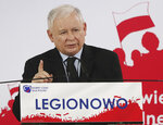 In this photo taken Thursday Sept. 26, 2019 Poland's ruling right-wing party leader Jaroslaw Kaczynski speaks at a convention Legionowo, Poland, ahead of Sunday parliamentary election in which his Law and Justice party is hoping to win a second term in power. (AP Photo/Czarek Sokolowski)