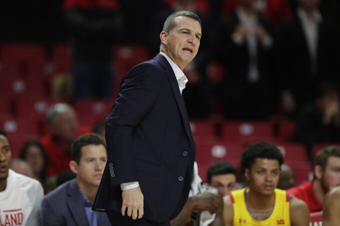 Maryland head coach Mark Turgeon reacts during the first half of an NCAA college basketball game against the Oakland, Saturday, Nov. 16, 2019, in College Park, Md. (AP Photo/Julio Cortez)