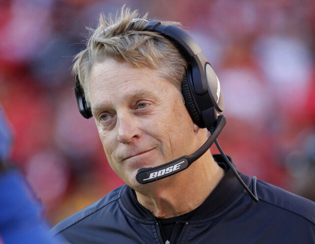FILE - In this Dec. 10, 2017, file photo, Oakland Raiders head coach Jack Del Rio watches during the second half of an NFL football game against the Kansas City Chiefs, in Kansas City, Mo. The Washington Redskins have hired Jack Del Rio as defensive coordinator. The Redskins added the former head coach of the Oakland Raiders on Thursday, Jan. 2, 2020, a day after hiring Ron Rivera as head coach. (AP Photo/Charlie Riedel, File)