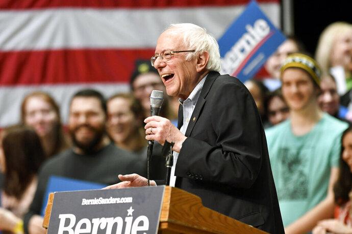 Democratic presidential candidate U.S. Sen. Bernie Sanders, I-Vt., speaks during a rally at Belk Theater at Blumenthal Performing Arts in Charlotte, N.C., Friday, Feb. 14, 2020. (David Foster III/The Charlotte Observer via AP)