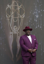 Cedric the Entertainer, host of Sunday's 73rd Primetime Emmy Awards, stands onstage during the show's Press Preview Day, Wednesday, Sept. 14, 2021, at the Television Academy in Los Angeles. The awards show honoring excellence in American television programming will be held at the Event Deck at L.A. Live. (AP Photo/Chris Pizzello)