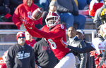 Indiana wide receiver Donavan Hale (6) catches a pass for a first down during the second half of an NCAA college football game against Maryland, Saturday, Nov. 10, 2018, in Bloomington, Ind. Indiana won 34-32. (AP Photo/Doug McSchooler)