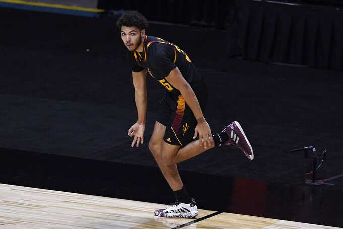 Arizona State's Taeshon Cherry gestures after making a basket during the first half of the team's NCAA college basketball game against Rhode Island, Wednesday, Nov. 25, 2020, in Uncasville, Conn. (AP Photo/Jessica Hill)