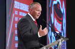 North Carolina State head coach Dave Doeren speaks during the Atlantic Coast Conference NCAA college football media day in Charlotte, N.C., Wednesday, July 17, 2019. (AP Photo/Chuck Burton)