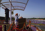 Indian Prime Minister Narendra Modi addresses the gathering during Independence Day celebrations at the historic 17th century Red Fort in New Delhi, India, on Sunay, Aug. 15, 2021. India commemorates its 1947 independence from British colonial rule on Aug. 15. (AP Photo/Manish Swarup)