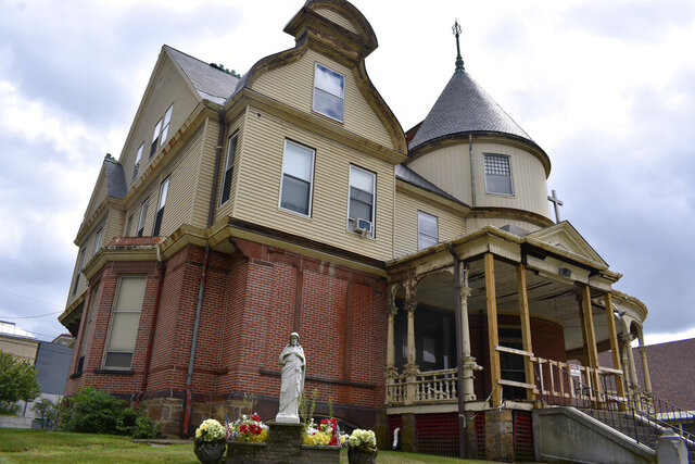 This September 2020 photo provided by the Diocese of Manchester shows the Chandler House in Manchester, N.H. The historic mansion built by a wealthy industrialist has been saved from demolition by sale from the diocese to the Currier Museum of Art. (Kathryn Marchocki/Diocese of Manchester via AP)