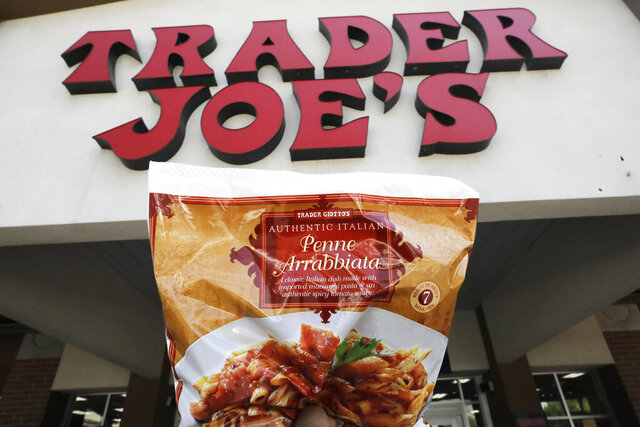Trader Giotto's Penne Arrabbiata is shown in from of Trader Joe's Friday, July 31, 2020, in Salt Lake City. The popular grocery chain Trader Joe's says it won't be changing ethnic-sounding labels on its line of Mexican, Chinese and other international foods, adding they are not racist. Earlier this month the company said it was looking at changing some labels. But now it says it has no problem with ethnic-food labels like Trader Jose's, Trader Ming's and Arabian Joe. Other Trader Joe's names cited include Arabian Joe for Middle Eastern food, Trader Giotto's for Italian and Trader Joe San for Japanese cuisine. (AP Photo/Rick Bowmer)