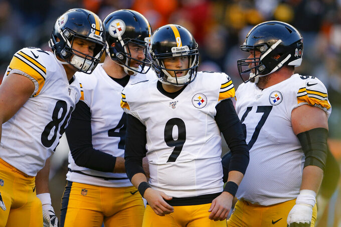 Pittsburgh Steelers kicker Chris Boswell (9) celebrates his field goal during the second half an NFL football game against the Cincinnati Bengals, Sunday, Nov. 24, 2019, in Cincinnati. (AP Photo/Gary Landers)