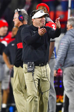 Georgia coach Kirby Smart reacts after a touchdown is called back due to a penalty during the second half of an NCAA college football game against Missouri, Saturday, Nov. 9, 2019, in Athens, Ga. (AP Photo/John Amis)