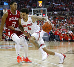 Ohio State's Duane Washington, right, drives to the basket against Indiana's Armaan Franklin during the second half of an NCAA college basketball game Saturday, Feb. 1, 2020, in Columbus, Ohio. Ohio State beat Indiana 68-59. (AP Photo/Jay LaPrete)
