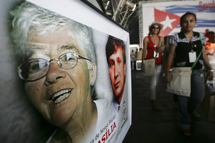 FILE - In this Jan. 28, 2009 file photo, a banner of American missionary Dorothy Stang hangs during the World Social Forum in Belem, Brazil. Regivaldo Pereira Galvão was detained in April 2019 after Brazil's supreme court overruled a May 2018 injunction that had blocked him from serving his sentence in the Stang killing. (AP Photo/Silvia Izquierdo, File)