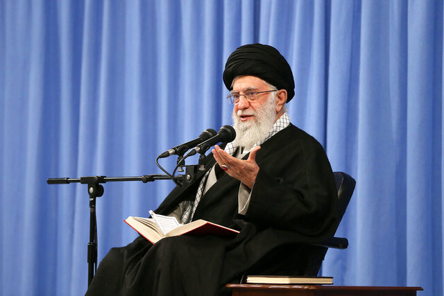 In this photo released by an official website of the office of the Iranian supreme leader, Supreme Leader Ayatollah Ali Khamenei speaks during a meeting in Tehran, Iran, Sunday, Feb. 23, 2020. Officials in Iran haven't announced the full results from parliamentary elections two days ago, but on Sunday the country's supreme leader accused enemy