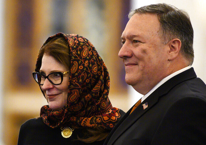 Secretary of State Mike Pompeo and his wife Susan pose for a photo as they tour the newly inaugurated Cathedral of the Nativity Christ, in Egypt's New Administrative Capital, east of Cairo, Thursday,  Jan. 10, 2019. (Andrew Caballero-Reynolds/Pool Photo via AP)