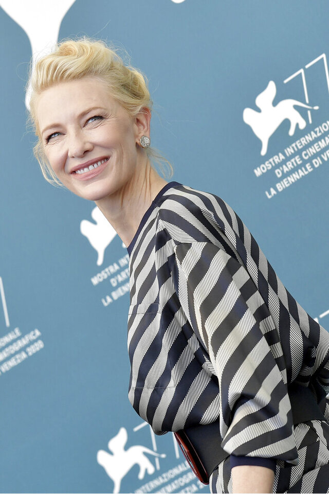 Jury president Cate Blanchett poses for photographers at the jury photo call during the 77th edition of the Venice Film Festival in Venice, Italy, Wednesday, Sept. 2, 2020. (Gian Mattia D'Alberto/Lapresse via AP)