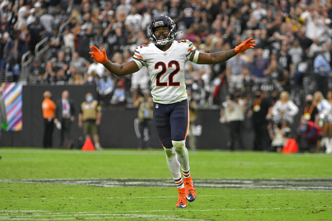 Chicago Bears cornerback Kindle Vildor (22) reacts after the Las Vegas Raiders made an incomplete pass during the second half of an NFL football game, Sunday, Oct. 10, 2021, in Las Vegas. (AP Photo/David Becker)