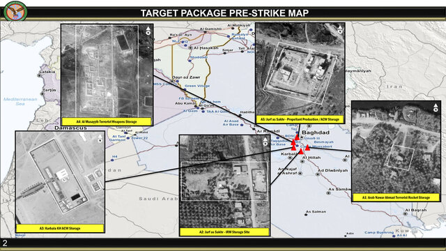 This annotated image provided by the U.S. Department of Defense, shows aerial images of sites that were to be targeted in U.S. airstrikes in Iraq on Friday, March 13, 2020. U.S. officials said the airstrikes' intended targets were mainly weapons facilities belonging to Kataib Hezbollah, the militia group believed to be responsible for Wednesday's attack on Camp Taji base. (U.S. Department of Defense via AP)