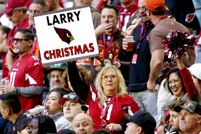 An Arizona Cardinals fan holds a sign during the first half of an NFL football game against the Cleveland Browns, Sunday, Dec. 15, 2019, in Glendale, Ariz. (AP Photo/Ross D. Franklin)