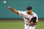 Boston Red Sox's Nathan Eovaldi pitches during the first inning of an opening day baseball game against the Baltimore Orioles, Friday, July 24, 2020, in Boston. (AP Photo/Michael Dwyer)