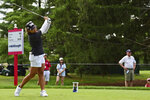 Mina Harigae tees off on the 18th hole during the third round of the Marathon LPGA Classic golf tournament at Highland Meadows Golf Club in Sylvania, Ohio, Saturday, July 10, 2021, in Sylvania, Ohio. (AP Photo/David Dermer)
