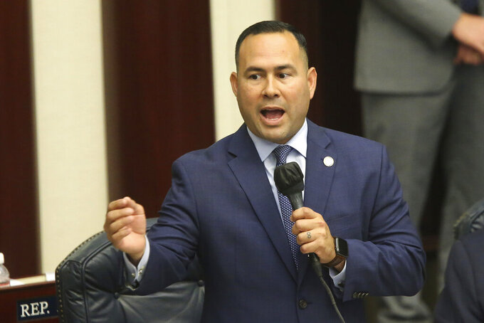 Rep. Nicholas Duran, D-Miami, debates the gambling bill during a special session, Wednesday, May 19, 2021, in Tallahassee, Fla. (AP Photo/Steve Cannon)