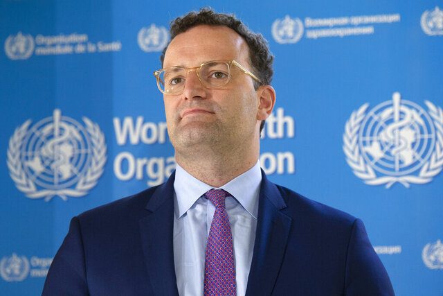 Germany's Minister of Health Jens Spahn attends a press conference, at the World Health Organization (WHO) headquarters in Geneva, Switzerland, Thursday, June 25, 2020. (Salvatore Di Nolfi/Keystone via AP)