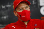 Ferrari driver Sebastian Vettel of Germany participates in a media conference prior to the Formula One Grand Prix at the Spa-Francorchamps racetrack in Spa, Belgium Thursday, Aug. 27, 2020. (Florent Gooden, Pool via AP)