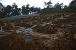FILE - In this Sunday, March 29, 2020, file photo, freshly-dug graves at a newly prepared cemetery the authorities have set aside for the burial of COVID-19 coronavirus victims, in Istanbul's Beykoz district. When Turkey changed the way it reports daily COVID-19 infections, it confirmed what medical groups and opposition parties have long suspected — that the country is faced with an alarming surge of cases that is fast exhausting the Turkish health system. The official daily COVID-19 deaths have also steadily risen to record numbers in a reversal of fortune for the country that had been praised for managing to keep fatalities low. With the new data, the country jumped from being one of the least-affected countries in Europe to one of the worst-hit.(AP Photo/Emrah Gurel, File)