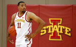 Iowa State guard Talen Horton-Tucker waits to be interviewed during Iowa State's NCAA college basketball media day, Thursday, Oct. 11, 2018, in Ames, Iowa. (AP Photo/Charlie Neibergall)