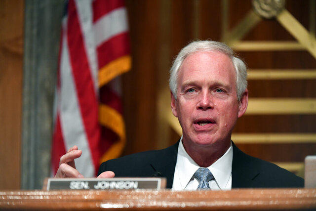 Sen. Ron Johnson, R-Wis., speaks during a Senate Homeland Security and Governmental Affairs Committee hearing to examine Department of Homeland Security personnel deployments to recent protests on Thursday, Aug. 6, 2020, in Washington. (Toni Sandys/The Washington Post via AP, Pool)