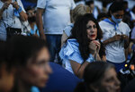 Anti-abortion activists rally outside Congress as lawmakers debate a bill on its legalization, in Buenos Aires, Argentina, Thursday, Dec. 10, 2020. (AP Photo/Natacha Pisarenko)