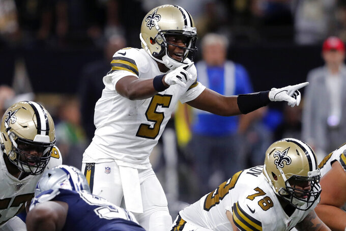 FIOLE - In this Sept. 29, 2019, file photo, New Orleans Saints quarterback Teddy Bridgewater (5) calls an audible at the line of scrimmage in the first half of an NFL football game against the Dallas Cowboys in New Orleans. Bridgewater is ready for his role as the Carolina Panthers new starting quarterback where he will replace Cam Newton. (AP Photo/Bill Feig, File)