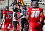 Hawaii quarterback Cole McDonald (13) celebrates after scoring a touchdown followed during the first half of an NCAA college football game against New Mexico, Saturday, Oct. 26, 2019, in Albuquerque, N.M. (AP Photo/Andres Leighton)