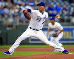 Kansas City Royals starting pitcher Danny Duffy delivers to a Chicago White Sox batter during the first inning of a baseball game at Kauffman Stadium in Kansas City, Mo., Wednesday, July 17, 2019. (AP Photo/Orlin Wagner)
