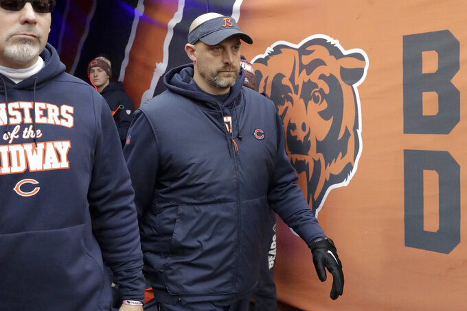 Chicago Bears head coach Matt Nagy walks out to the field before an NFL wild-card playoff football game against the Philadelphia Eagles Sunday, Jan. 6, 2019, in Chicago. (AP Photo/Nam Y. Huh)