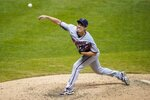 Minnesota Twins starting pitcher Kenta Maeda throws during the sixth inning of a baseball game against the Milwaukee Brewers Wednesday, Aug. 12, 2020, in Milwaukee. (AP Photo/Morry Gash)