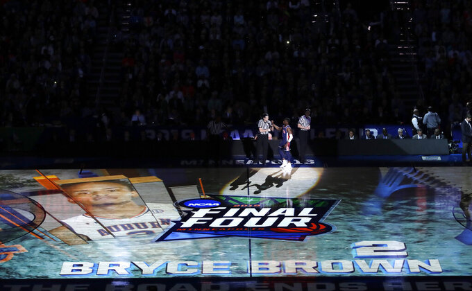 Auburn guard Bryce Brown takes the court before a semifinal round game against Virginia in the Final Four NCAA college basketball tournament, Saturday, April 6, 2019, in Minneapolis. (AP Photo/Matt York)