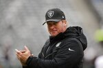 Oakland Raiders head coach Jon Gruden watches his team warm up before an NFL football game against the New York Jets Sunday, Nov. 24, 2019, in East Rutherford, N.J. (AP Photo/Adam Hunger)