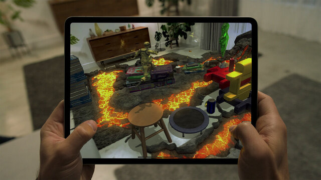 This photo provided by Apple shows the new iPad Pro with augmented reality capabilities. (Apple via AP)