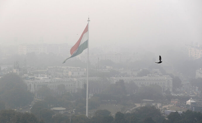 A bird flies past as Delhi's sky line is seen enveloped in smog and dust in New Delhi, India, Friday, Nov. 1, 2019. An expert panel in India's capital has declared a health emergency due to air pollution choking the city, with authorities ordering schools closed until Nov. 5. (AP Photo/Manish Swarup)