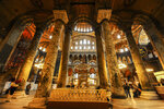 Visitors walk inside the Byzantine-era Hagia Sophia, in the historic Sultanahmet district of Istanbul, Friday, Oct. 15, 2010. Turkish President Recep Tayyip Erdogan is scheduled to join hundreds of worshipers Friday, July 24, 2020, for the first Muslim prayers at the Hagia Sophia in 86 years, weeks after a controversial high court ruling paved the way for the landmark monument to be turned back into a mosque. The conversion of the edifice, once the most important church of Christendom and the