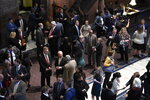 Lawmakers, lobbyists and staffers gather in the lobby of the South Carolina Statehouse on the opening day of the state's 2020 legislative session on Tuesday, Jan. 14, 2020, in Columbia, S.C. (AP Photo/Meg Kinnard)