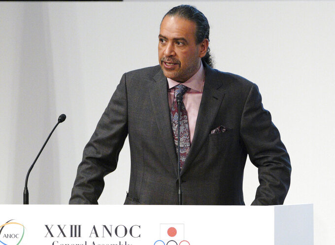 FILE - In this Wednesday, Nov. 28, 2018 file photo, Sheikh Ahmad al Fahad al Sabah, president of the Association of National Olympic Committees (ANOC) delivers a speech during the ANOC general assembly in Tokyo. A sports court says on Monday, Jan. 25, 2021 an election for an Asian woman soccer official to join the FIFA Council was improperly influenced by Olympic powerbroker Sheikh Ahmad of Kuwait. Sheikh Ahmad gave up his own FIFA Council seat in 2017 after being implicated in vote-buying by United States federal prosecutors. (AP Photo/Eugene Hoshiko, file)