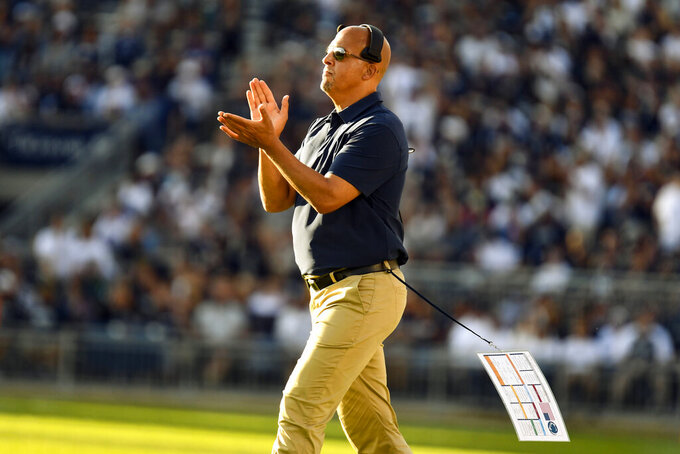 Penn State head coach James Franklin celebrates a score against Ball State during an NCAA college football game in State College, Pa., on Saturday, Sept. 11, 2021. Penn State defeated Ball State 44-13. (AP Photo/Barry Reeger)
