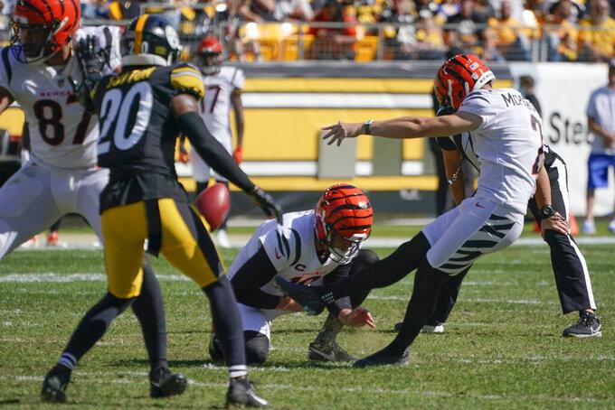 Cincinnati Bengals kicker Evan McPherson (2) boots a field goal against the Pittsburgh Steelers during the second half an NFL football game, Sunday, Sept. 26, 2021, in Pittsburgh. (AP Photo/Gene J. Puskar)