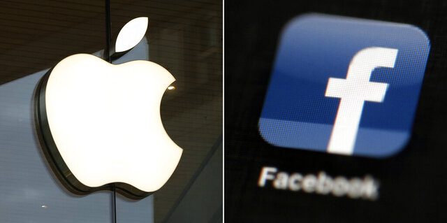 """FILE - This combo of file photos shows the Apple and Facebook logos. Facebook is again pushing back on new Apple privacy rules for its mobile devices, this time saying the social media giant is standing up for small businesses in full page newspaper ads. In ads that ran in The New York Times, The Wall Street Journal and other national newspapers, Facebook said Apple's new rules """"limit businesses ability to run personalized ads and reach their customers effectively."""