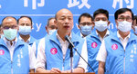 In this image taken from video footage run by Taiwan's FTV, Mayor Han Kuo-yu speaks to the media in Kaohsiung, Taiwan, Saturday, June 6, 2020. Residents of the Taiwanese port city of Kaohsiung voted Saturday to oust their mayor, whose failed bid for the presidency on behalf of the China-friendly Nationalist Party earlier this year brought widespread disapproval among residents. (FTV via AP Video)