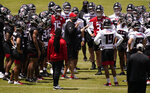 Atlanta Falcons head coach Arthur Smith, center, talks to the team during an NFL football rookie minicamp on Friday, May 14, 2021, in Flowery Branch, Ga. (AP Photo/Brynn Anderson)