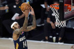 New Orleans Pelicans' Brandon Ingram heads to the basket during the first half of an NBA basketball game against the Utah Jazz Thursday, July 30, 2020, in Lake Buena Vista, Fla. (AP Photo/Ashley Landis, Pool)