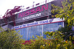 Nissan Stadium, home of the Tennessee Titans, is shown Tuesday, Sept. 29, 2020, in Nashville, Tenn. The Titans suspended in-person activities through Friday after the NFL says three Titans players and five personnel tested positive for the coronavirus, becoming the first COVID-19 outbreak of the NFL season in Week 4. (AP Photo/Mark Humphrey)